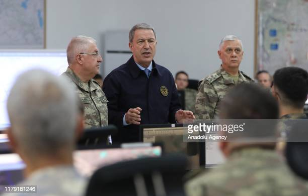 Turkish National Defense Minister Hulusi Akar along with Turkish Chief of General Staff Gen. Yasar Guler and Turkish Land Forces Commander Umit...