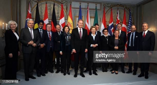 Turkish National Defense Minister Hulusi Akar and other countries' defence ministers pose for a photo prior to the Munich Security Conference in...