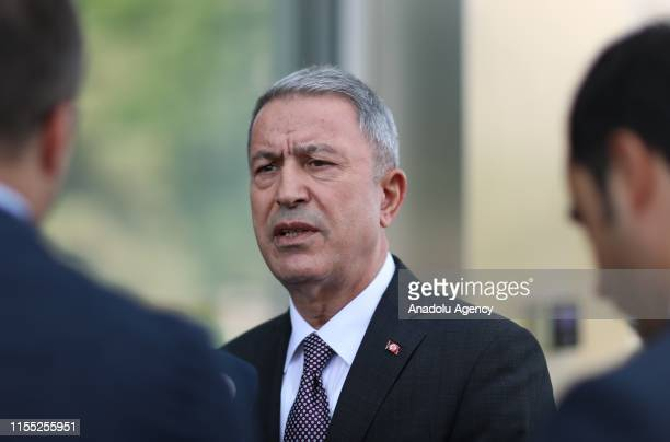Turkish National Defense Minister Hulusi Akar answers the questions regarding the delivery of first batch of Russian S-400 hardware to Turkey, on...