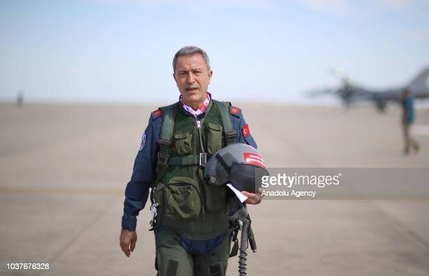 Turkish National Defense Minister Hulusi Akar arrives at the field of the 'Teknofest Istanbul' Aerospace and Technology Festival after accompanying...