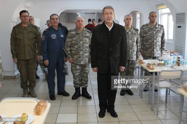 Turkish National Defense Minister Hulusi Akar attends a lunch with Turkish Chief of General Staff Yasar Guler Land Forces Commander Umit Dundar Air...