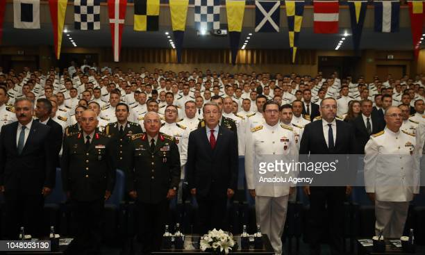Turkish National Defense Minister Hulusi Akar attends the opening ceremony of National Defense University Naval Military College's new academic year...