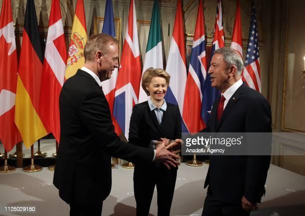 Turkish National Defense Minister Hulusi Akar German Defense Minister Ursula von der Leyen and US Secretary of Defense Patrick M Shanahan shake hands...