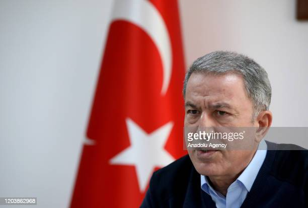 Turkish National Defense Minister Hulusi Akar makes a speech about the process in Idlib as he inspects the operation by ground and air support units...