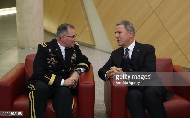 Turkish National Defense Minister Hulusi Akar meets with Curtis Michael Scaparrotti a fourstar general in the United States Army and current Supreme...