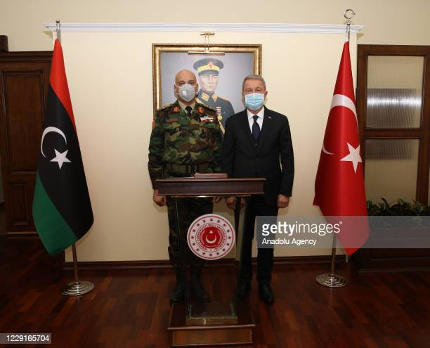 Turkish National Defense Minister Hulusi Akar receives Chief of Staff of the Armed Forces of Libya, Mohamed Ali al-Haddad in Ankara, Turkey on...