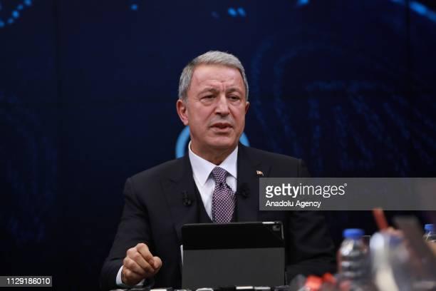 Turkish National Defense Minister Hulusi Akar speaks at Anadolu Agencys Editors' Desk in Ankara, Turkey on March 08, 2019.