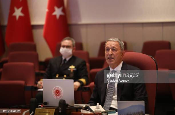 Turkish National Defense Minister Hulusi Akar speaks during a meeting with commandersinchief of armed forces and deputy ministers on counterterrorism...
