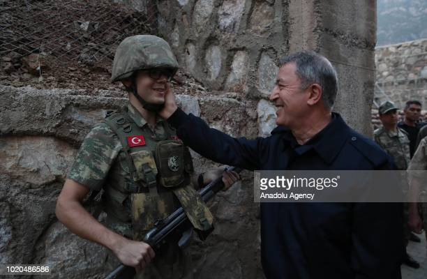 Turkish National Defense Minister Hulusi Akar visits Aktutun Border Battalion Command Post in Hakkari, Turkey on August 20, 2018.
