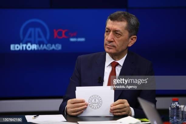 Turkish National Education Minister Ziya Selcuk speaks as he is special guest of Anadolu Agency's Editors' Desk in Ankara Turkey on March 19 2020