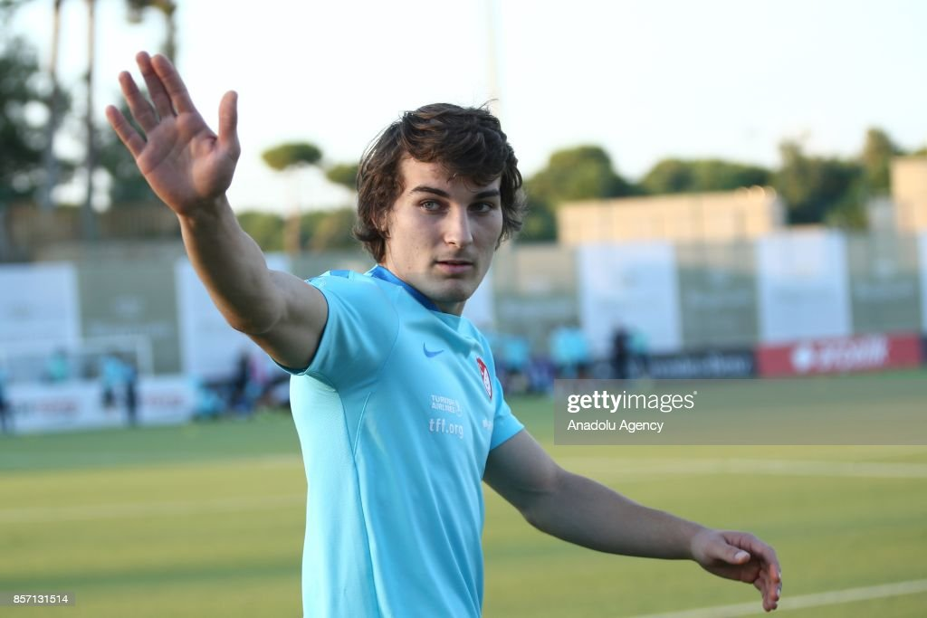 Turkish National Football Team player, Caglar Soyuncu gestures as he attends a training session ahead of the FIFA World Cup European Qualification Group I matches against Iceland and Finland at the training facility of Sentido Zeynep Resort in Antalya, Turkey on October 03, 2017.