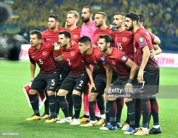 Turkish national football team's pose for pictures before the FIFA World Cup 2018 qualification football match between Ukraine and Turkey in Kharkiv...