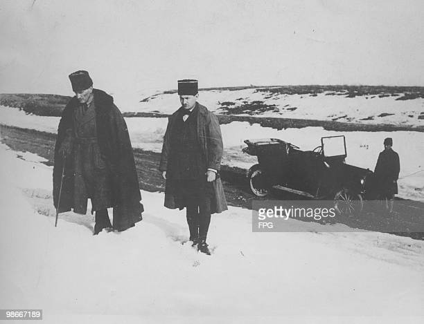 Turkish nationalist military leader and statesman Mustafa Kemal Ataturk leaves his car to inspect his troops in the disputed area of Canakkale in...