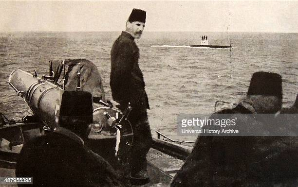 Turkish Naval ship and submarine in the Dardanelles world war one 1915