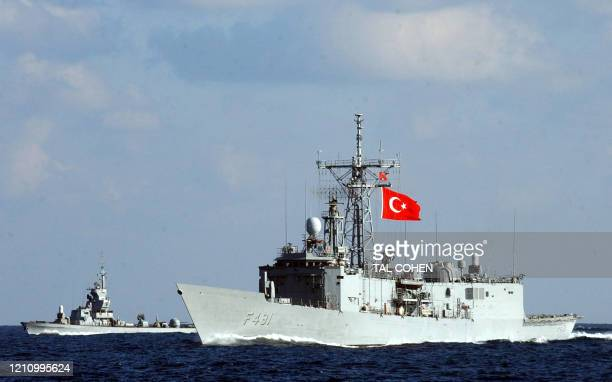 Turkish navy ship is seen in the Mediterranean Sea, off Israel, during joint maneuvers with the US and Israeli navy 11 January 2005. Israel is...