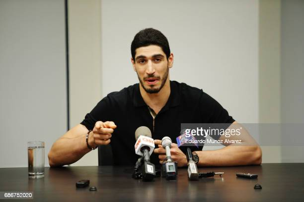 Turkish NBA Player Enes Kanter speaks to media during a news conference about his detention at a Romanian airport on May 22 2017 in New York City...