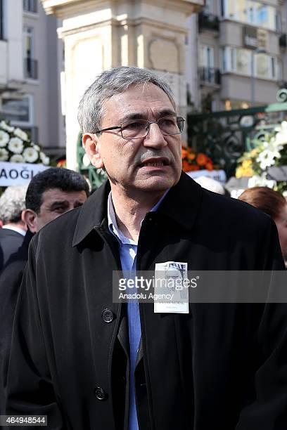 Turkish novelist Orhan Pamuk attends the funeral ceremony of Turkish author Yasar Kemal who died at the age of 92 on 28th of February 2015 due to a...