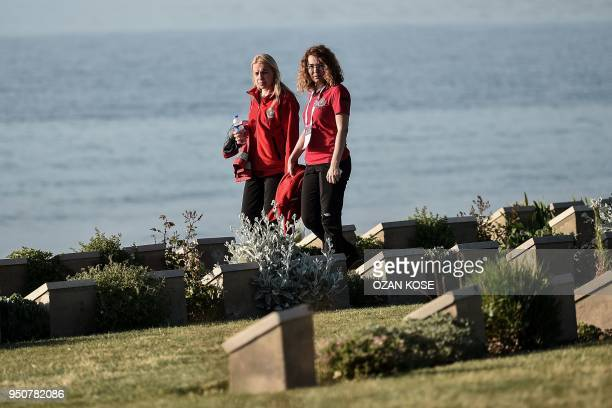 Turkish officials walk through the Anzac cove in Canakkale on April 24 before a ceremony marking the 103rd anniversary of ANZAC Day The April 25 1915...