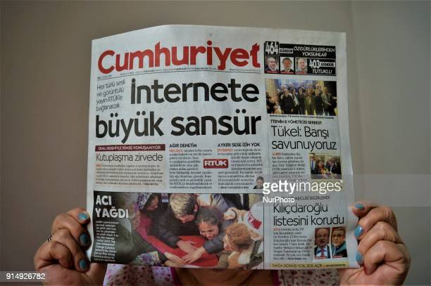 Turkish opposition daytoday newspaper Cumhuriyet appears with a headline on its front page that reads 'Massive Censorship to the Internet' in Ankara...