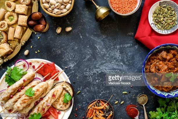 Turkish or arabic cuisine. Turkish food on dark stone background