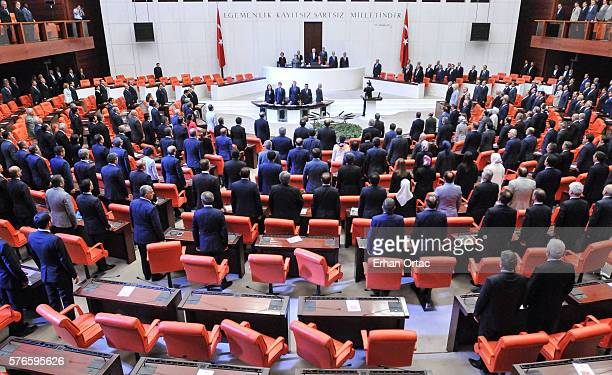 Turkish parliament convenes for extraordinary session following the failed coup attempt on July 16, 2016 in Ankara, Turkey. Police regained control...