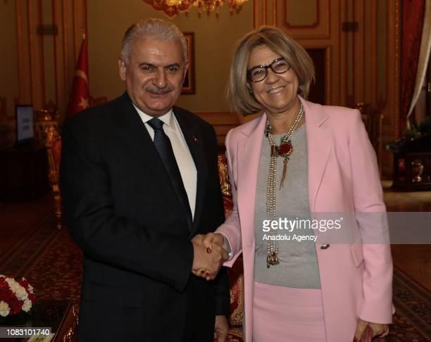 Turkish Parliament Speaker Binali Yildirim meets Portuguese Ambassador to Turkey Paula Leal Da Silva in Ankara Turkey on January 15 2019