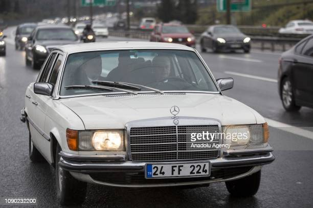 Turkish Parliamentary Speaker and AK Party candidate for Istanbul mayor Binali Yildirim drives a 1976 Mercedes-Benz car prior his meeting with...