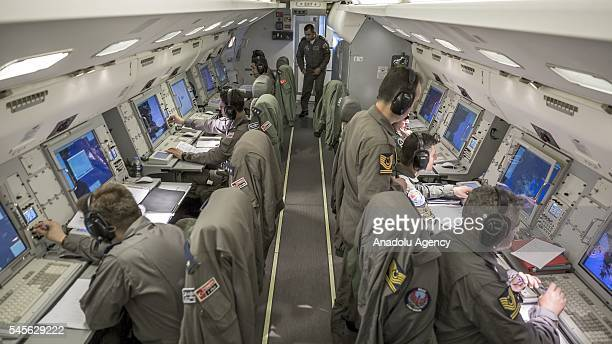 Turkish Peace Eagle team are seen in the Boeing 737 AEWC of Turkish Air Force early warning and control aircraft after completing its mission in...