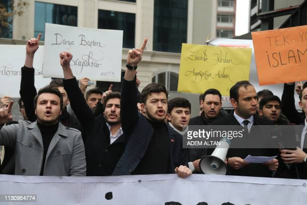 Turkish people shout slogans during a demonstration to condemn the mass shooting in Christchurch New Zealand on March 16 2019 in Ankara