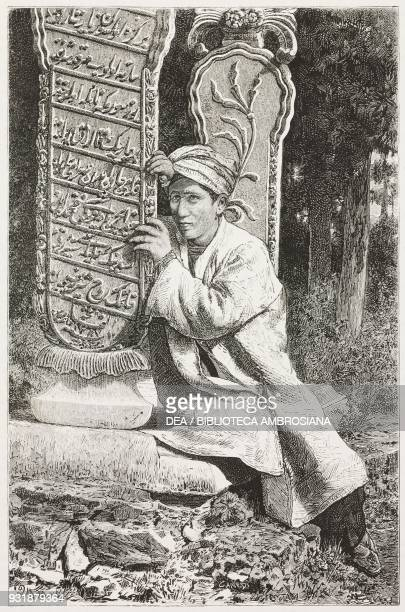 A Turkish pilgrim weeping in front of a decorated stele of a typical tomb in Istanbul Turkey drawing by Michetti from a photograph by the Abdullah...