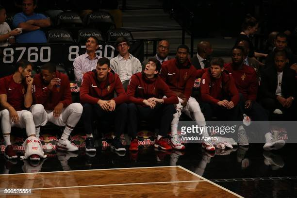 Turkish player Cedi Osman of the Cleveland Cavaliers on substitution bench during NBA basketball match between Cleveland Cavaliers and Brooklyn Nets...