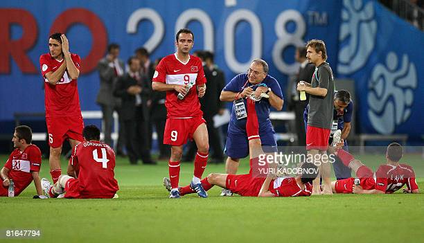 turkish players rest prior to extratime during the Euro 2008 Championships quarterfinal football match Croatia vs Turkey on June 20 2008 at Ernst...