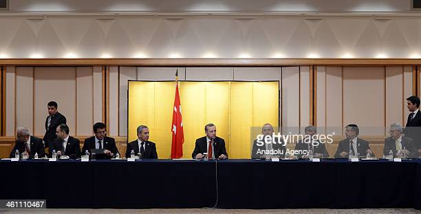Turkish PM Erdogan visits the residents of Kushimoto who help the victims of Ertugrul Frigate and Japanese delegates who represent the citizens...