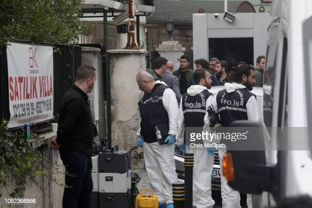 Turkish police arrive to investigate the Saudi Arabian consulate general residence as investigations continue into the disappearance of journalist...