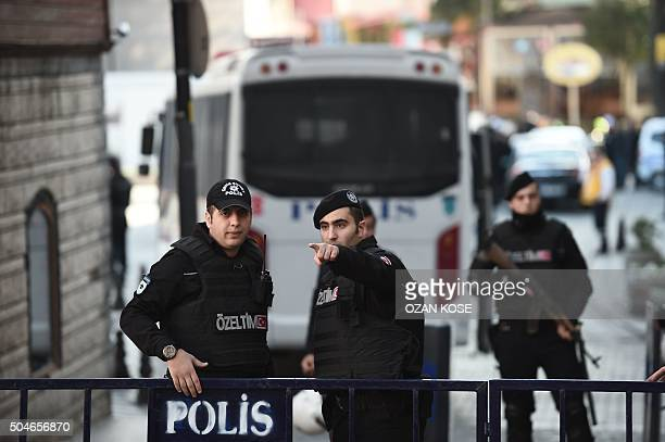Turkish police cordon off the Blue Mosque area on January 12 2016 after a blast in Istanbul's tourist hub of Sultanahmet left 10 people dead Ten...