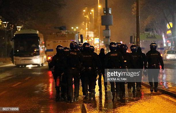 Turkish police forces attempt to disperse demonstrators on December 28 2015 during a march in Ankara for the victims of the Roboski strike The march...