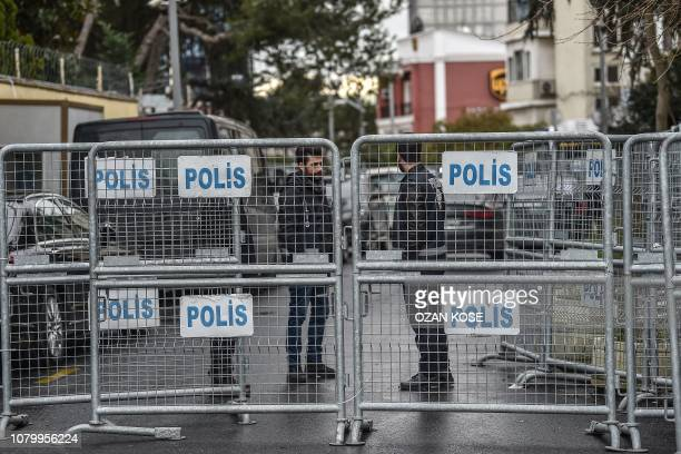 Turkish police officers stand guard behind fences at the Saudi Arabian consulate on January 10 2019 during a demonstration in Istanbul Amnesty...
