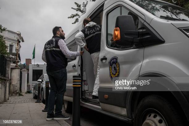 Turkish police officers work in front of the Saudi Arabian consulate general residence as investigations continue into the disappearance of...