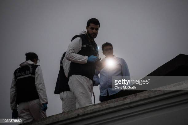 Turkish police search the rooftop of the Saudi Arabian consulate general residence as investigations continue into the disappearance of journalist...