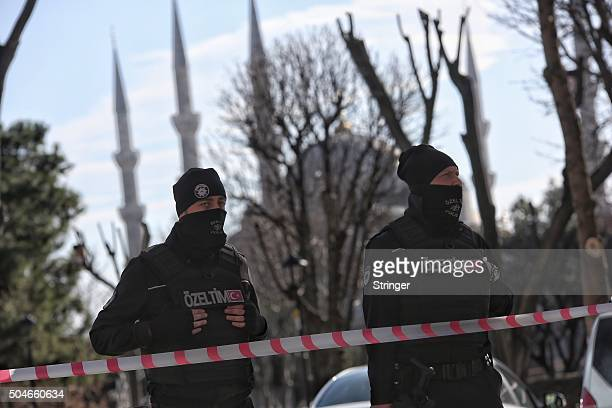 Turkish police secure the area after an explosion in the central Istanbul Sultanahmet district on January 12 2016 in Istanbul Turkey At least 10...
