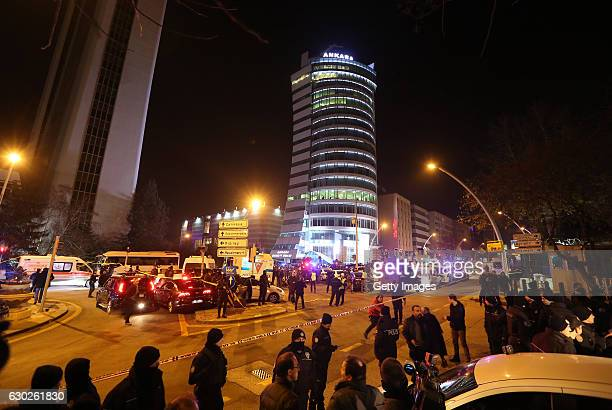 Turkish police secure the area outside where the Russian Ambassador to Turkey Andrei Karlov was shot inside an art gallery on December 19 Turkey in...