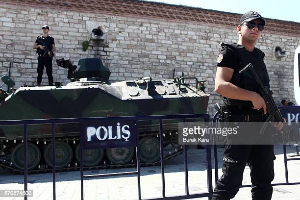 Turkish police stand guard around the Republic Monument in Taksim Square in Istanbul July 16 Turkey Istanbul's bridges across the Bosphorus the...