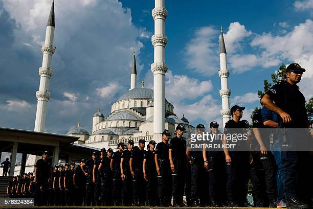 TOPSHOT Turkish policemen attend the funeral ceremony of special forces police officer Meric Alemdar killed during the failed July 15 coup at the...