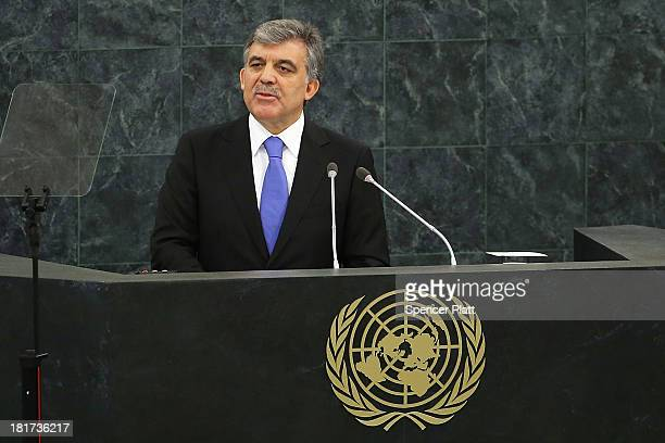 Turkish President Abdullah Gül speaks at the United Nations General Assembly on September 24 2013 in New York City Over 120 prime ministers...
