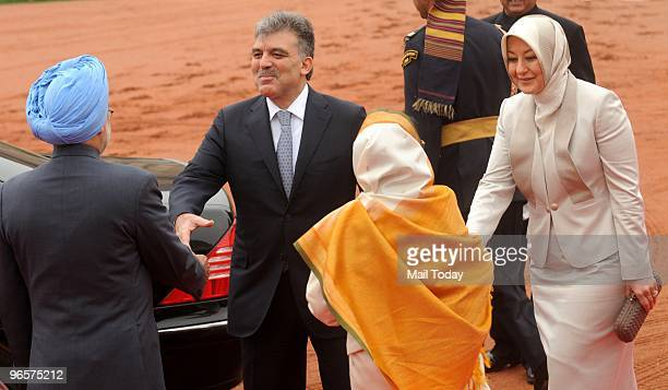 Turkish President Abdullah Gul accompanied by his wife Hayrunisa with President Pratibha Patil and Prime Minister Manmohan Singh during his...