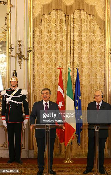 Turkish President Abdullah Gul and his Italian counterpart Giorgio Napolitano attend a joint press conference after their meeting at the Quirinale...