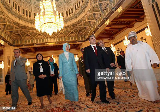 Turkish President Abdullah Gul and his wife Hayrunnisa visit the Sultan Qaboos Grand Mosque in Muscat on April 14 2010 Gul is on an official visit to...