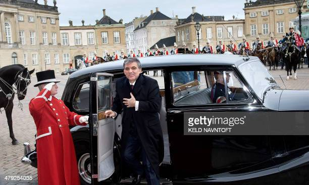 Turkish president Abdullah Gul arrives on March 17 2014 at the royal castle Amalienborg AFP PHOTO / Scanpix Denmark / KELD NAVNTOFT/ Denmark Out