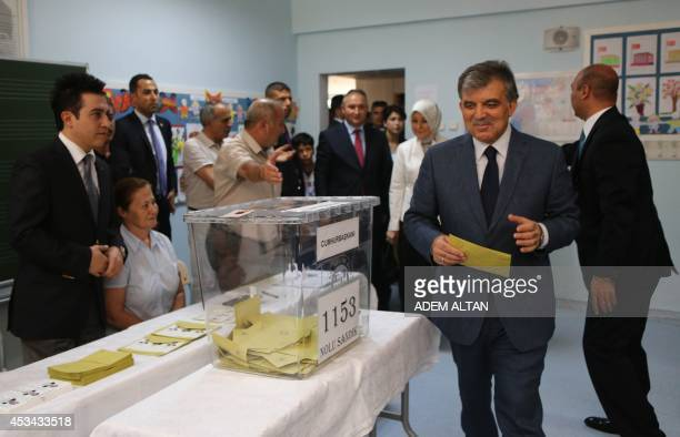 Turkish President Abdullah Gul arrives to cast his ballot for Turkey's presidential election at a polling station in Ankara on August 10 2014 Prime...