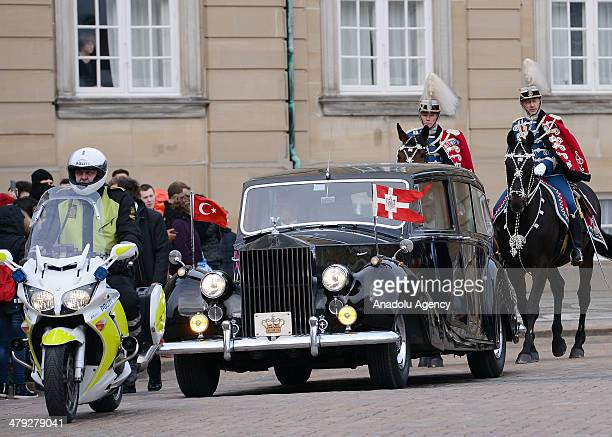 Turkish President Abdullah Gul being in Denmark as the guest of Margrethe II of Denmark arrives Amalienborg Palace with cavalier unit in Copenhagen...